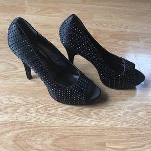 4/$25 Studded Black Heels Size 9